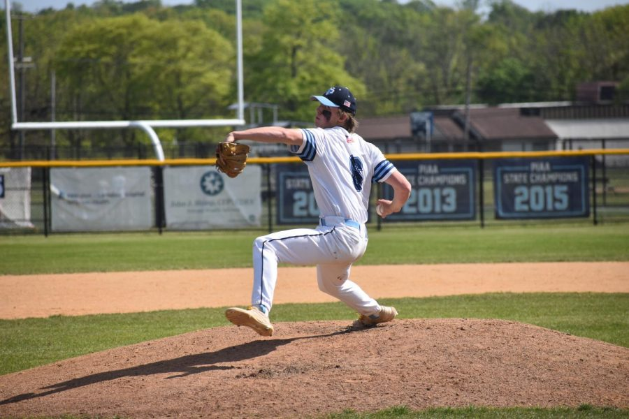 North Penn senior pitcher Christian Stevens winds up to throw a pitch in the first inning.