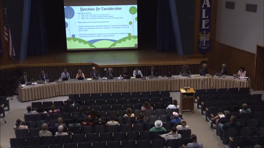 Board meets in Penndales auditorium to discuss masking this fall