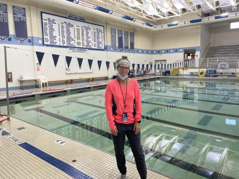 Ms. Tory Young in front of the North Penn swimming pool where a variety of aquatic sports and classes are held.