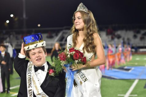 Homecoming King and Queen Giovanni Nero and Caitlin Tecklin crowned during halftime at Crawford Stadium