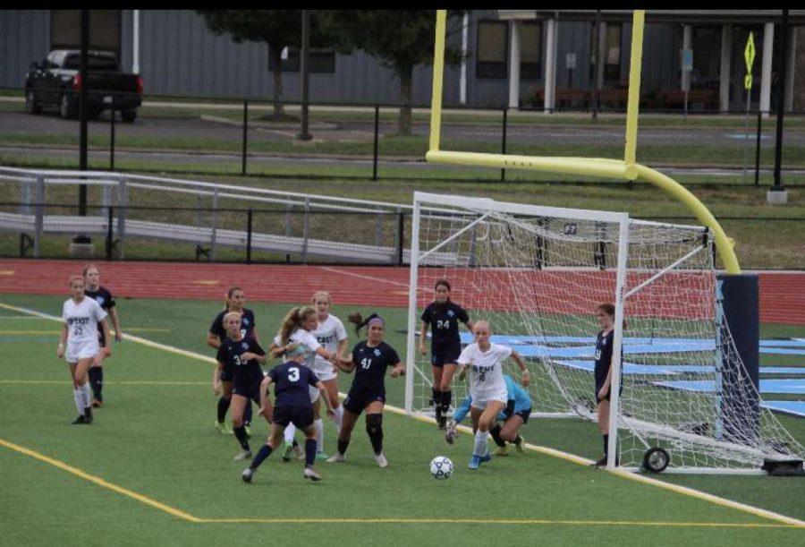 North Penn Junior Varsity girls soccer team taking on CB East